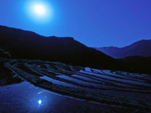 blue-night-sky-moon-mountains-nature-peaceful-reflection-water-104954